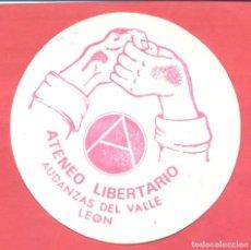 Pegatinas de colección: PEGATINA POLITICA ATENEO LIBERTARIO AUDANZAS DEL VALLE (LEON) EPOCA TRANSICION , VER FOTOS. Lote 180392111
