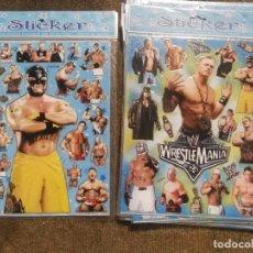 Pegatinas de colección: LOTE DE 4 HOJAS DE PEGATINAS WWE PRESSING CATCH STICKERS. Lote 181108720