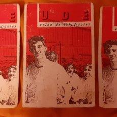 Pegatinas de colección: 3 PEGATINAS POLÍTICA/SINDICAL UDE UNIÓN DE ESTUDIANTES. Lote 184817462