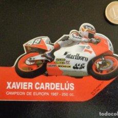 Pegatinas de colección: ANTIGUA PEGATINA / ADHESIVO XAVIER CARDELÚS CAMPEÓN DE EUROPA 1987 - 250CC. Lote 259916975