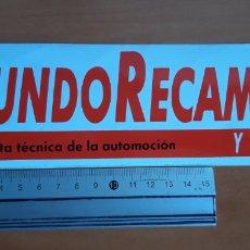 Pegatinas de colección: PEGATINA DE LA REVISTA MUNDO RECAMBIO Y TALLER AÑOS 80. Lote 190479602