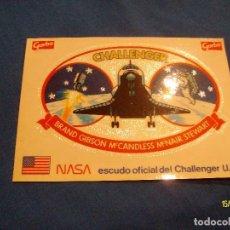 Pegatinas de colección: PEGATINA NASA ESCUDO OFICIAL DEL CHALLENGER USA GARBO. Lote 191026696