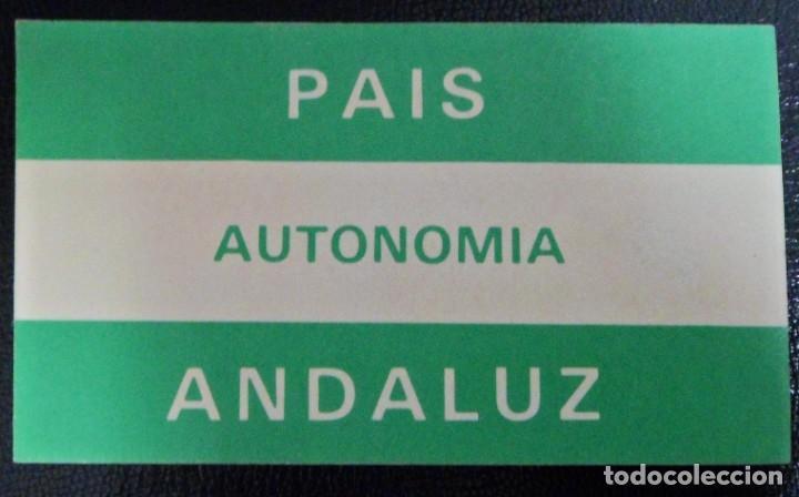 PEGATINA POLÍTICA PAIS ANDALUZ AUTONOMÍA. BANDERA ANDALUCÍA (Coleccionismos - Pegatinas)