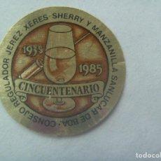 Pegatinas de colección: PEGATINA CINCUENTENARIO CONSEJO REGULADOR VINO DE JEREZ - SANLUCAR DE BARRAMEDA. 1935 - 1985. Lote 244764225