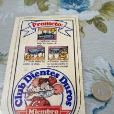 Pegatinas de colección: PEGATINA PUBLICIDAD INFANTIL CLUB DIENTES DUROS. Lote 192093547