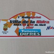 Pegatinas de colección: PEGATINA MOTOR - 1º RALLY SPRINT VILLA DE LA SIDRA NAVA 2007 13 CM. Lote 211744195