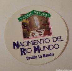 Pegatinas de colección: PEGATINA NACIMIENTO DEL RÍO MUNDO PARAJE NATURAL. Lote 192499991