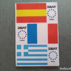 Pegatinas de colección: PEGATINA SEAT BANDERAS ESPAÑA-FRANCIA-GRECIA. Lote 194291162