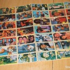 Pegatinas de colección: DIFICIL LAMINA DE PEGATINAS DE CHICLES DE LA SERIE EQUIPO A - AÑOS 80 - LÁMINA MADRE SIN CORTAR. Lote 194291612