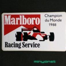 Pegatinas de colección: PEGATINA MARLBORO RACING SERVICE CHAMPION DU MONDE 1988 - FÓRMULA 1. Lote 194517207