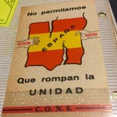 Pegatinas de colección: ANTIGUA Y ORIGINAL PEGATINA POLÍTICA,MOVIMIENTO FALANGISTA DE ESPAÑA,FALANGE,CONS,SINDICALISTA. Lote 194634505