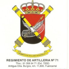 Pegatinas de colección: PEGATINA REGIMIENTO ARTILLERIA Nº 71. Lote 194876198