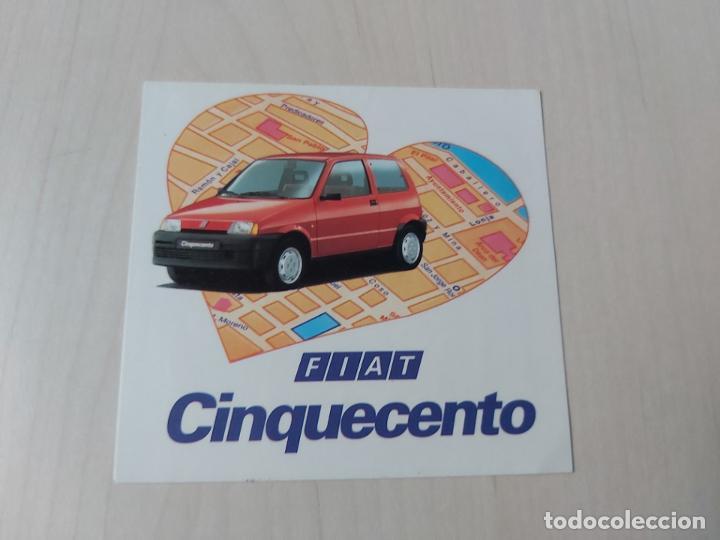 PEGATINA MOTOR FIAT CINQUECENTO - 8 CM (Coleccionismos - Pegatinas)