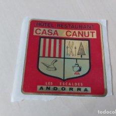 Pegatinas de colección: PEGATINA HOTEL CASA CANUT - ANDORRA - 7 CM. Lote 195269113