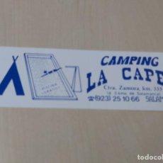 Pegatinas de colección: PEGATINA CAMPING LA CAPEA - SALAMANCA - 15 CM. Lote 195269186