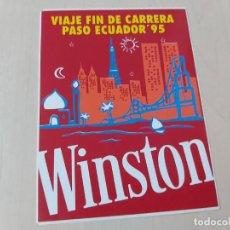 Pegatinas de colección: PEGATINA MOTOR WINSTON - VIAJE FIN DE CARRERA - PASO ECUADOR ´95 - 12 CM. Lote 195269970