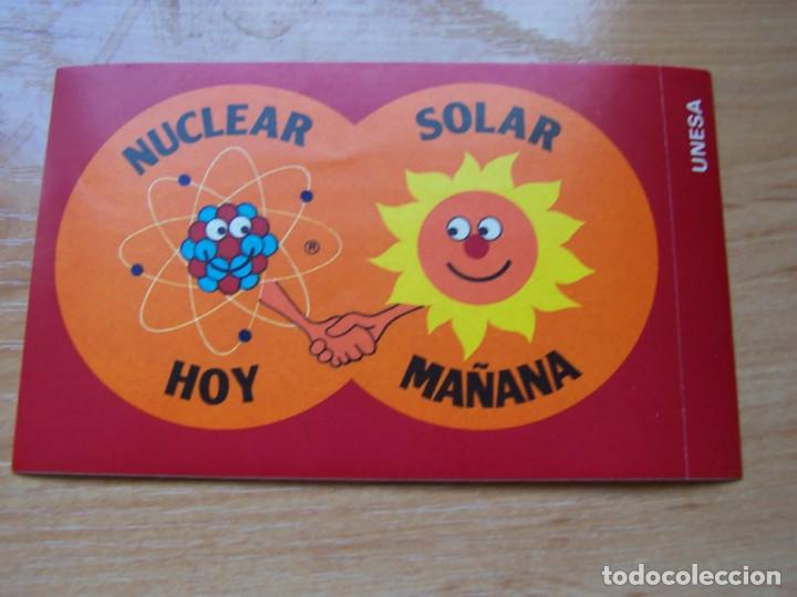 PEGATINA PRONUCLEAR UNESA. ENERGIA NUCLEAR HOY SOLAR MAÑANA 197* (Coleccionismos - Pegatinas)