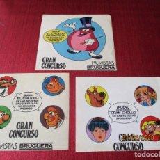 Pegatinas de colección: LOTE 3 PEGATINAS. UN DOS TRES NUEVO CONCURSO GRAN CHOLLO EN LAS REVISTAS BRUGUERA 1980*. Lote 195405875