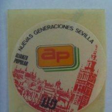 Pegatinas de colección: PEGATINA POLITICA : NUEVAS GENERACIONES DE ALIANZA POPULAR DE SEVILLA. AÑOS 80. Lote 195432486