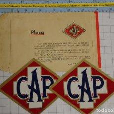 Pegatinas de colección: 2 PEGATINAS PLACAS. CAP COMPAÑÍA ASISTENCIA PROTECCIÓN INTERNACIONAL. ASEGURADORA AUTOMÓVILES.. Lote 239845020