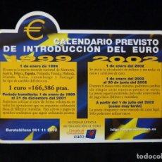 Pegatinas de colección: PEGATINA ADHESIVO CALENDARIO PREVISTO DE INTRODUCCIÓN DEL EURO. 1998. NUEVA. Lote 200345251