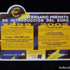 Pegatinas de colección: PEGATINA ADHESIVO CALENDARIO PREVISTO DE INTRODUCCIÓN DEL EURO. 1998. NUEVA (2). Lote 200345292