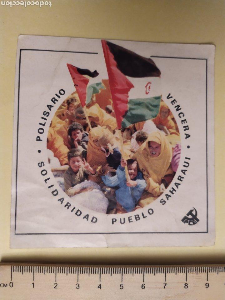 PEGATINA POLÍTICA, PCE, POLISARIO- SOLIDARIDAD PUEBLO SAHARAUI- VENCERA AÑOS 80 (Coleccionismos - Pegatinas)