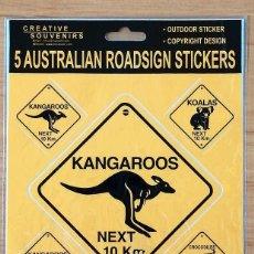 Pegatinas de colección: SET DE 5 PEGATINAS SEÑALES DE CARRETERA FAUNA AUSTRALIANA. Lote 203150153