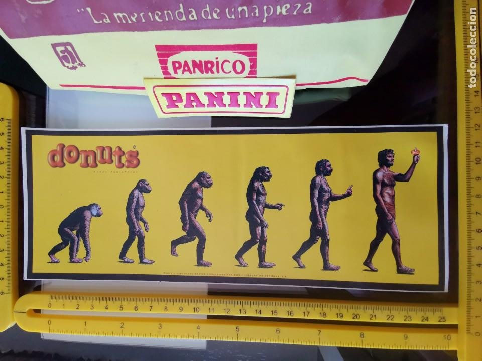 CROMO ANTIGUA PEGATINA SIN PEGAR PUBLICIDAD PROMOSTAFF - PANRICO DONUTS EVOLUCIÓN HOMBRE (Coleccionismos - Pegatinas)