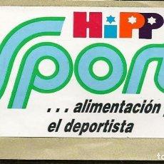 Pegatinas de colección: PEGATINA ADHESIVA. HIPP SPORT ALIMENTACIÓN PARA DEPORTISTA. TAMAÑO: 10 X 5 CMT. APROX. (C/A24). Lote 206509371