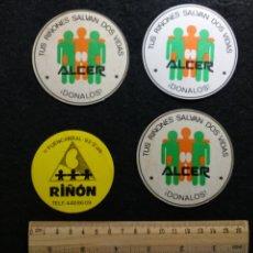Pegatinas de colección: LOTE 4 PEGATINAS ALCER DONANTES DE RIÑÓN. Lote 207143175