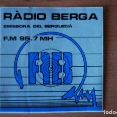 Pegatinas de colección: ADHESIU RADIO BERGA. Lote 207338810