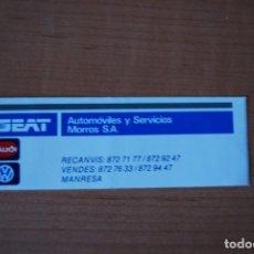 Pegatinas de colección: ADHESIVO PEGATINA SEAT. AUTOMÓVILES Y SERVICIOS MORROS SA. MANRESA. Lote 207339580