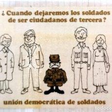 Pegatinas de colección: PEGATINA POLITICA, UNION DE SOLDADOS DEMOCRATAS , AÑOS 70, MUY RARA. Lote 209136271