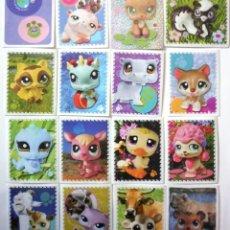 Pegatinas de colección: LOTE DE 16 CROMOS DE LITTLEST PET SHOP CARTAS PEGATINAS INFANTIL DOS ESPECIALES AÑO 2010 PETSHOP. Lote 211623207