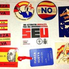 Pegatinas de colección: LOTE PEGATINAS FRANQUISMO. FUERZA NUEVA. SEU. FRANCO.. Lote 213777561