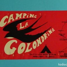 Pegatinas de colección: PEGATINA CAMPING LA GOLONDRINA. PERELLONET. VALENCIA. FORMATO 9 X 13,3 CM. Lote 215647453