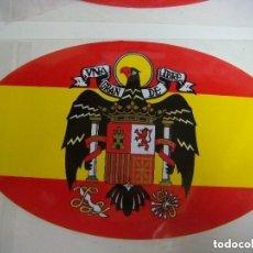 Pegatinas de colección: PEGATINA OVALADA DE LA BANDERA ESPAÑA CON EL AGUILA-CAJ-Nº-1. Lote 254455260
