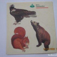 Pegatinas de colección: TRES PEGATINAS FAUNA PUBLICIDAD BANCO DE SANTANDER SIN USAR. Lote 219416516