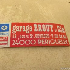 Adesivi di collezione: ANTIGUA PEGATINA GARAGE BRUT ET CIE - CHRYSLER - SIMCA - SUNBEAM - PERIGUEUX - FRANCE -. Lote 220277606