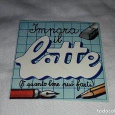 Pegatinas de colección: PEGATINA IMPARA IL LATTE. Lote 221575116