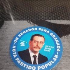 Pegatinas de colección: PEGATINA PARTIDO POPULAR JUAN DE DIOS MARTÍNEZ SORIANO SENADOR POR GRANADA. Lote 288413843