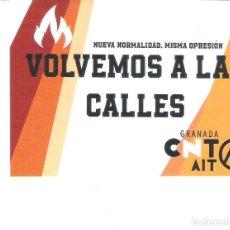 Autocolantes de coleção: PEGATINAS POLITICAS - 1 PEGATINA POLITICA CNT-AIT GRANADA - VOLVEMOS A LAS CALLES. Lote 276246408