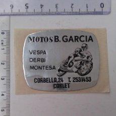 Pegatinas de colección: PEGATINA MOTOS TALLER CARLET VALENCIA.. Lote 226022295