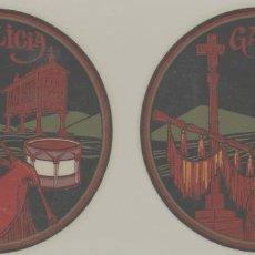 Pegatinas de colección: LOTE A- PEGATINAS CALCAMONIAS VINTAGE GALICIA GAITA DIAMETRO 8 CENTIMETROS. Lote 263712300