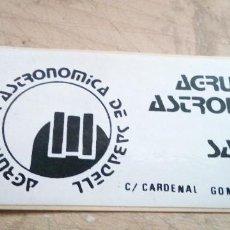 Pegatinas de colección: PEGATINA DE LA AGRUPACION ASTRONOMICA DE SABADELL AÑOS 80. Lote 228701490