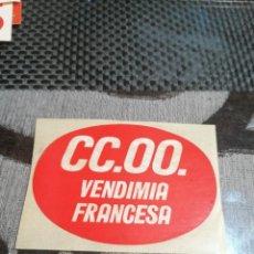 Pegatinas de colección: PEGATINA CCOO VENDIMIA FRANCESA. Lote 288413038
