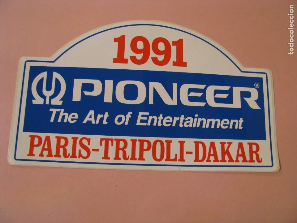 PEGATINA PIONEER PARIS-TRIPOLI-DAKAR. 1991. 24X14 CM. (Coleccionismos - Pegatinas)