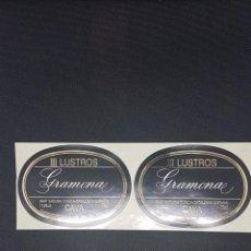 Pegatinas de colección: 2 ETIQUETAS III LUSTROS DE GRAMONA 3 LUSTROS NUEVAS. Lote 233441850