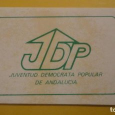Pegatinas de colección: ANTIGUA PEGATINA POLITICA.JDP.JUVENTUD DEMOCRATA POPULAR ANDALUCIA.. Lote 236458725